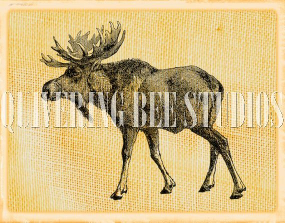 Elk Caribou Digital Graphic Downloadfabric by QuiveringBeeStudios