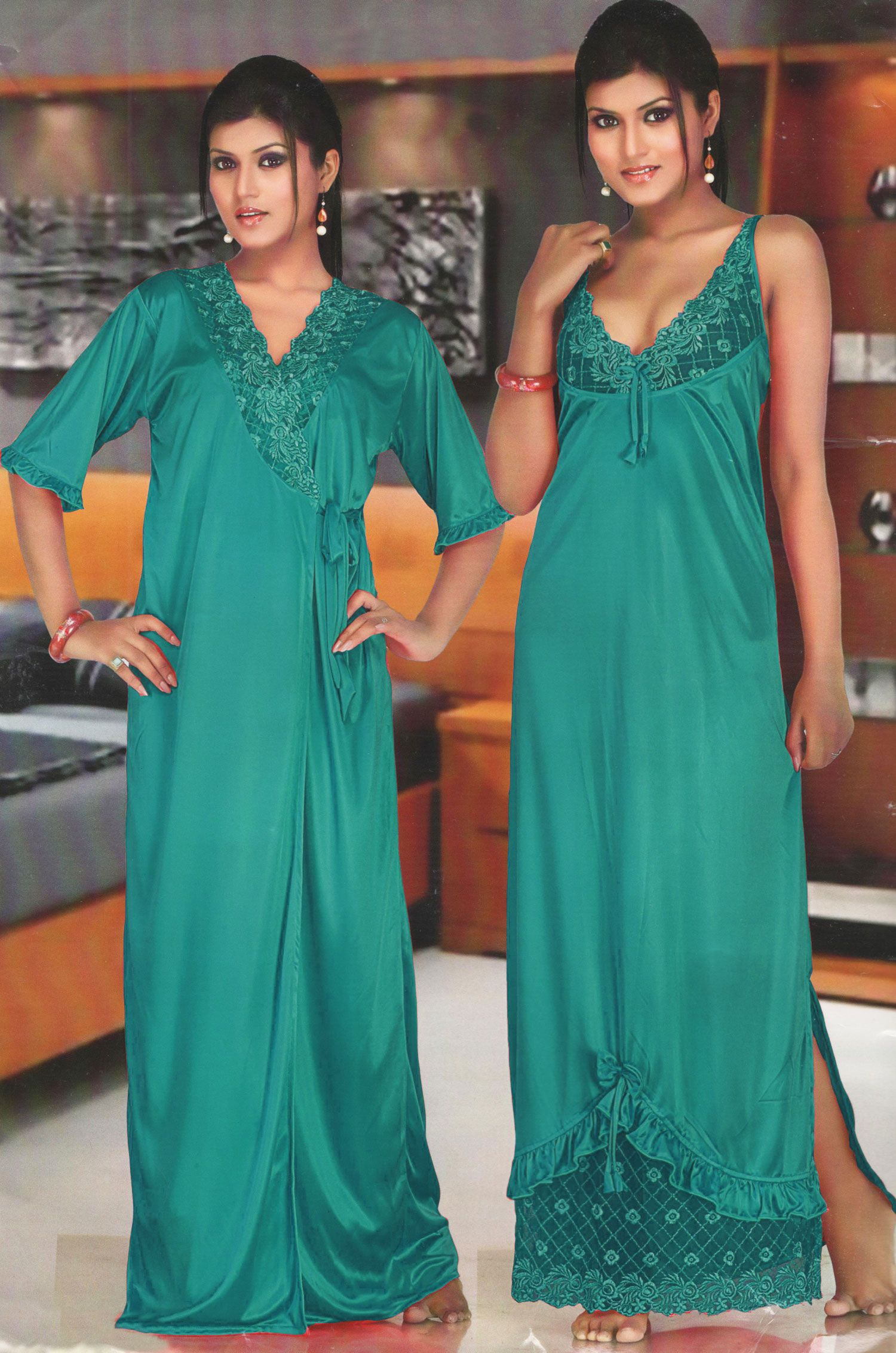 Lace dress nightwear  Ladies designer long satin and lace dressing gown robe womens