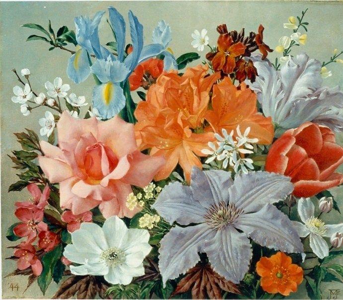 jan voerman   Jan Voerman jr. (Hattem 1890-1976 Blaricum) Stilleven van bloemen