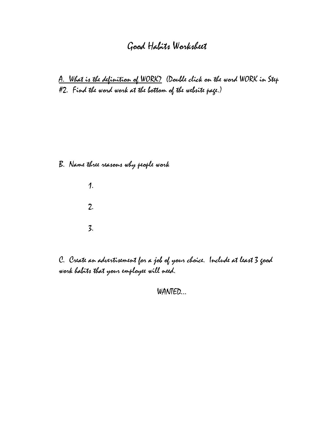 Good Habits Worksheets