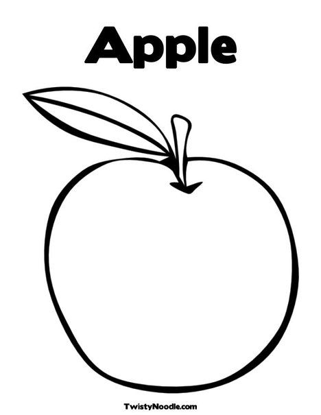 Apple Coloring Page | Embroidery design ideas | Pinterest