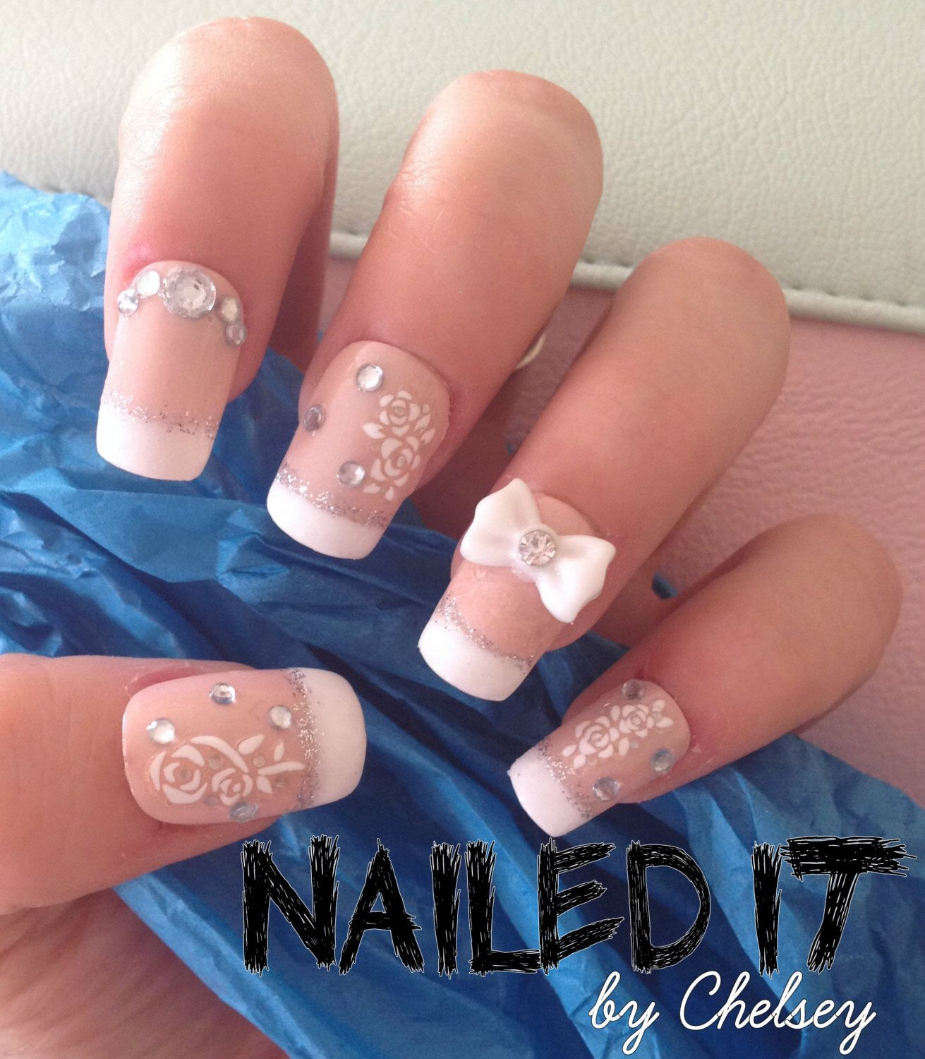 NAILED IT! - Hand painted false nails - 3D french manicure - white flower decals, bow, crystals! by NailedItByChelsey on Etsy https://www.etsy.com/listing/197619313/nailed-it-hand-painted-false-nails-3d