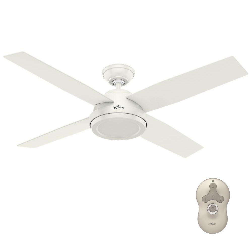 Hunter Dempsey 52 In Indoor Fresh White Ceiling Fan With Remote Control 59250 The Home Depot White Ceiling Fan Ceiling Fan With Remote Ceiling Fan 52 inch white ceiling fan