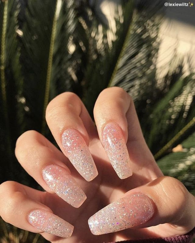 Clear Glittery Nails Cute Acrylic Nails Coffin Nails Designs Glittery Nails