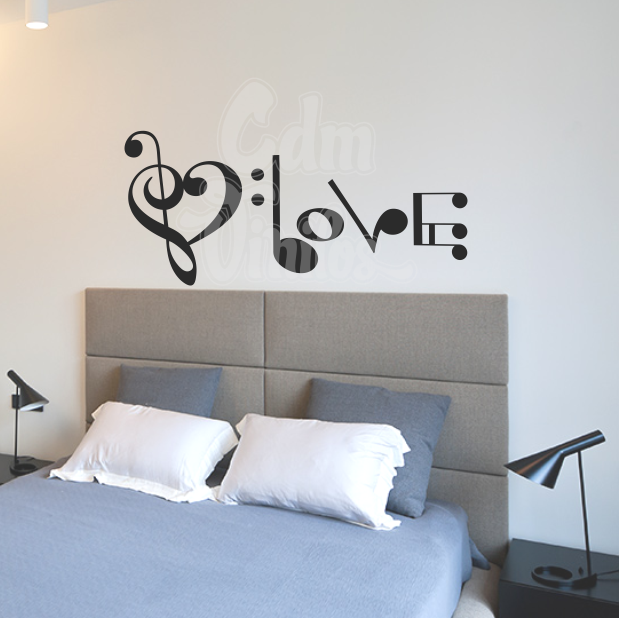 Vinilos decorativos pared habitacion amor love musica for Phrases murales