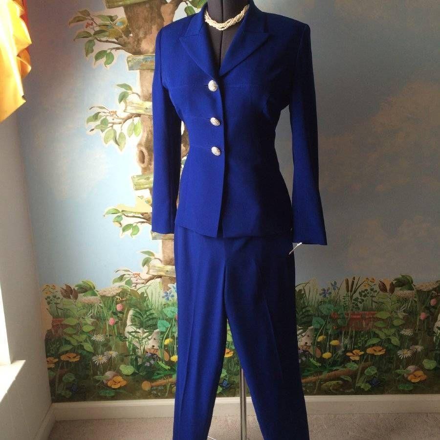 High Point New York Blue Long Sleeve women Pant Suit SZ 8 #HighPointNewYork #PantSuit