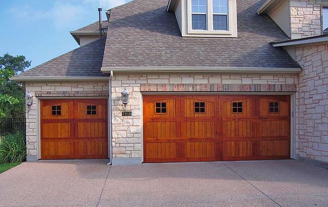 Custom Cedar Garage Door With Special Two Tone Stain