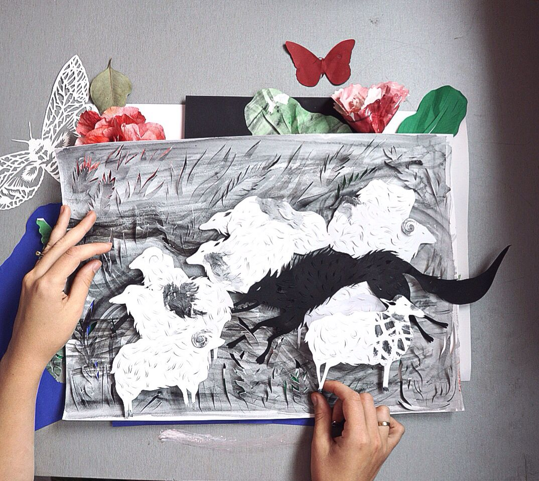 Kids Book Illustration The Boy Who Cried Wolf, Art Paper
