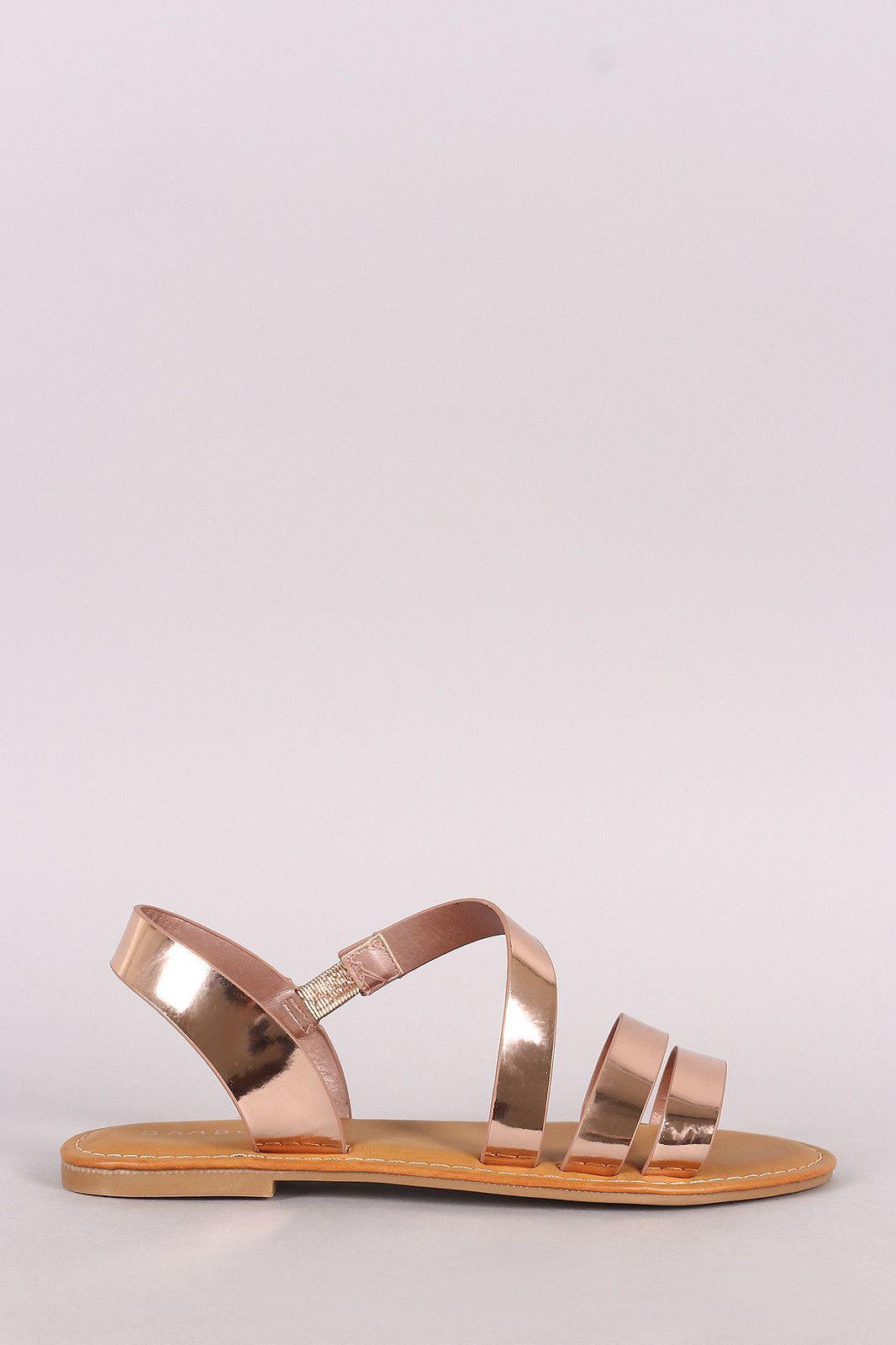 fee11716895b Bamboo Metallic Asymmetrical Strappy Flat Sandal | Shoes...Inspire ...