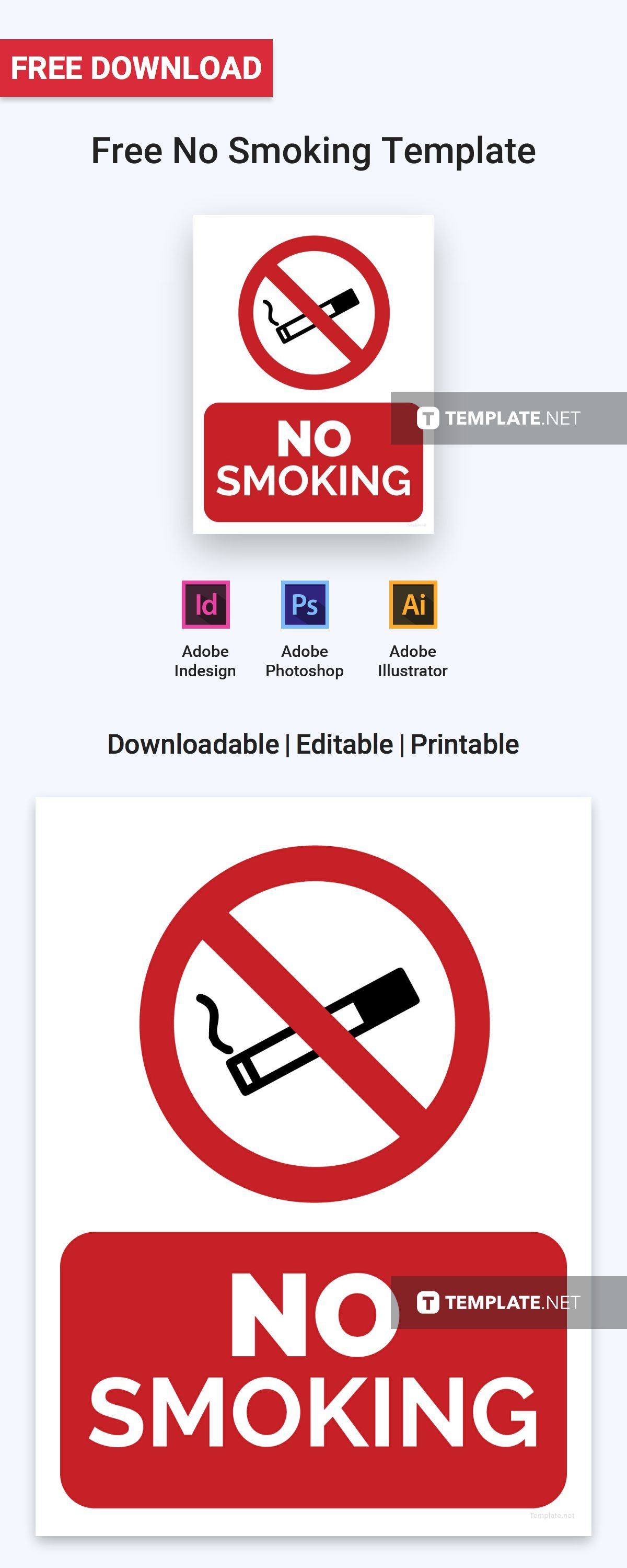 This is a graphic of Accomplished No Smoking Sign Printable
