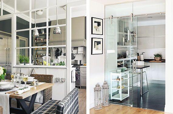paredes de cristal para separar ambientes inspiracion On barra de separacion cocina sala de estar