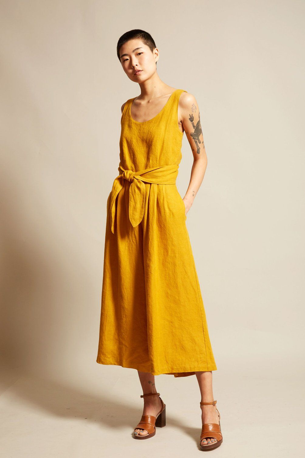 ca8ae352287 No.6 Alice Jumpsuit in Gold Linen