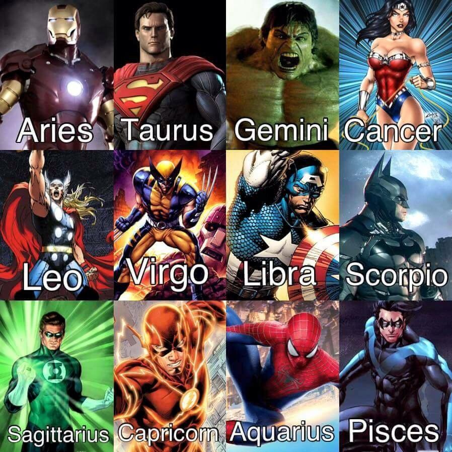 marvel comics zodiac signs