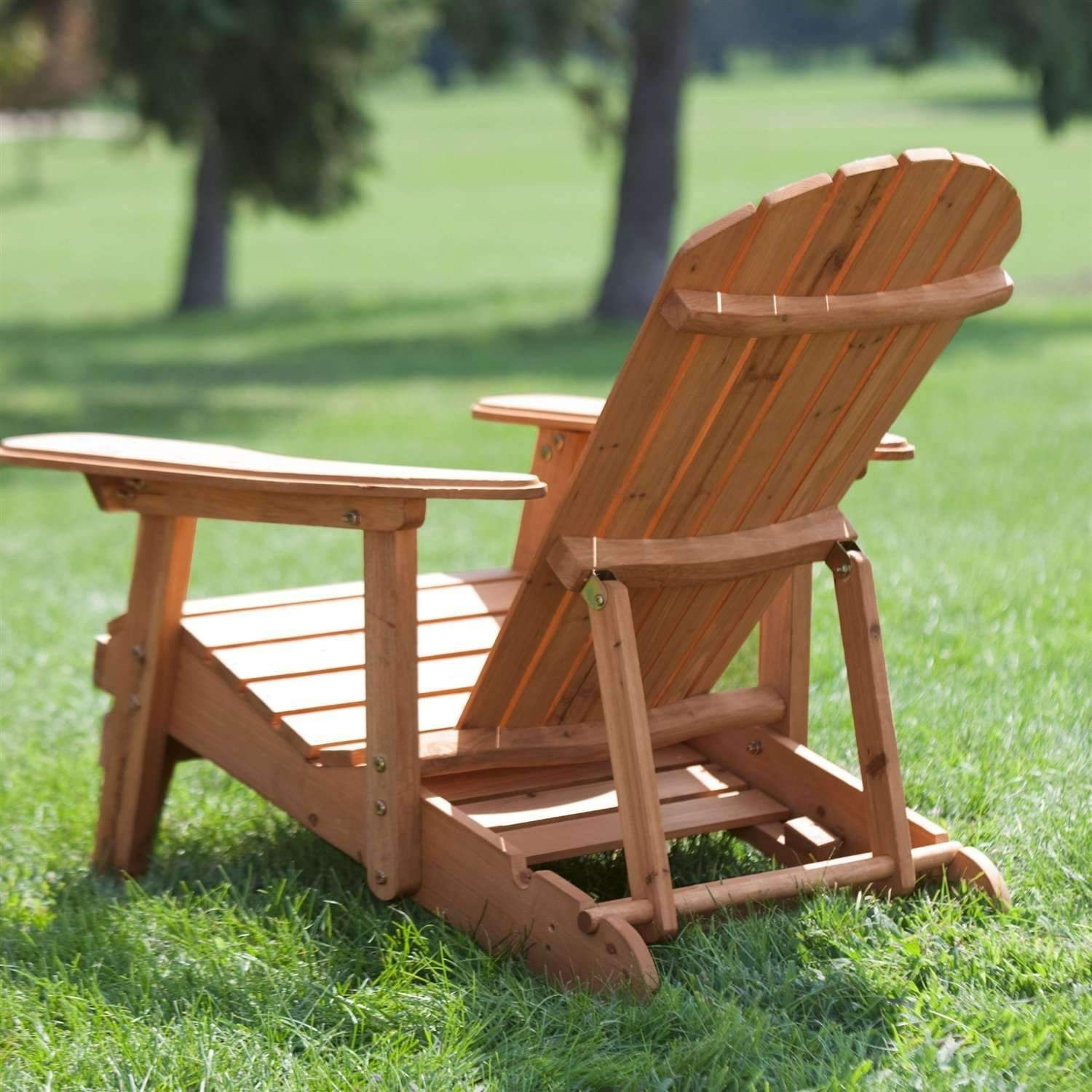 Outdoor Adirondack Chair Recliner with SlideOut Ottoman