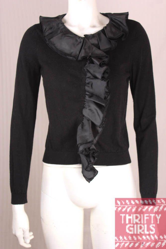 Magaschoni Exposite Size S Black Cardigan Sweater Ruffle #ExpositebyMagaschoni #Cardigan