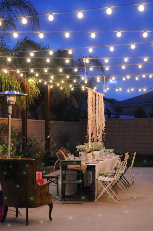 Beautiful Eclectic Patio With String Lighting