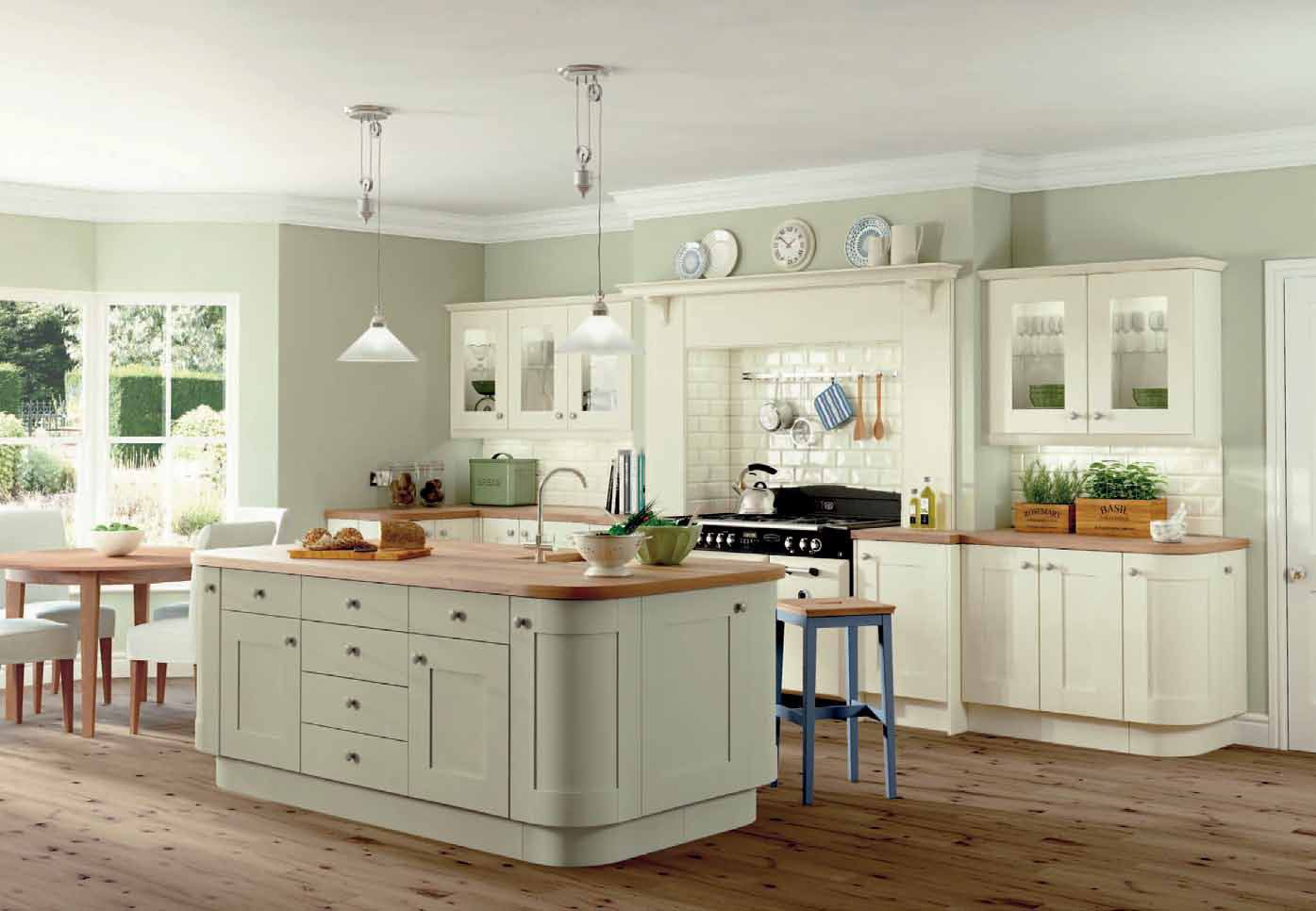 Love The Wall Colour With Cream Units Green Kitchen Walls Sage