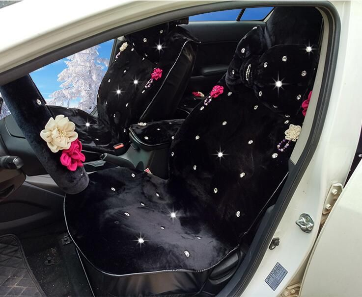 Top Crystals Flower Plush Car Seat Cushion For Women Winter Universal Rhinestone Auto Covers 10pcs Sets