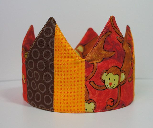 Birthday Crown - Baby Shower Gift - Cheeky Monkey Patchwork - Adjustable, OOAK, ready-to-ship. $30.00, via Etsy.