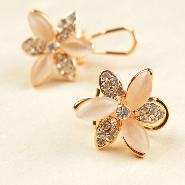 Accesorios Coreano Pendientes Grandes flores Ópalo Diamante de imitación Apoyo Pendiente