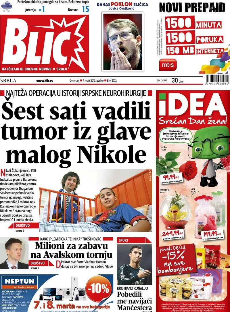 "Naslovna strana ""Blica"" za 7. mart 2013. (With images"