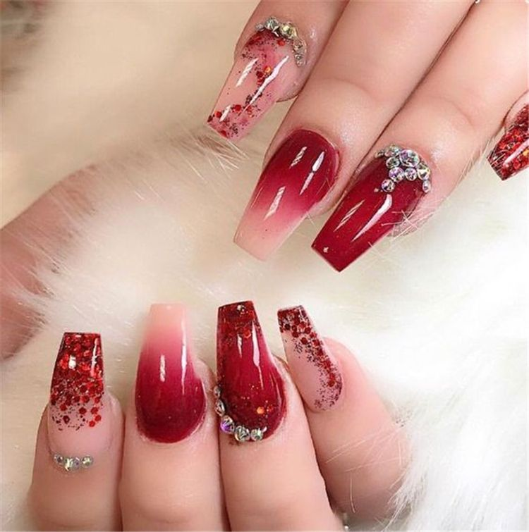 Gorgeous Red Nail Art Designs For Stylish Women Red Nails Coffin Nails Nails Acrylic Nails Gorgeous Red Nail In 2020 Red Ombre Nails Luxury Nails Glamorous Nails