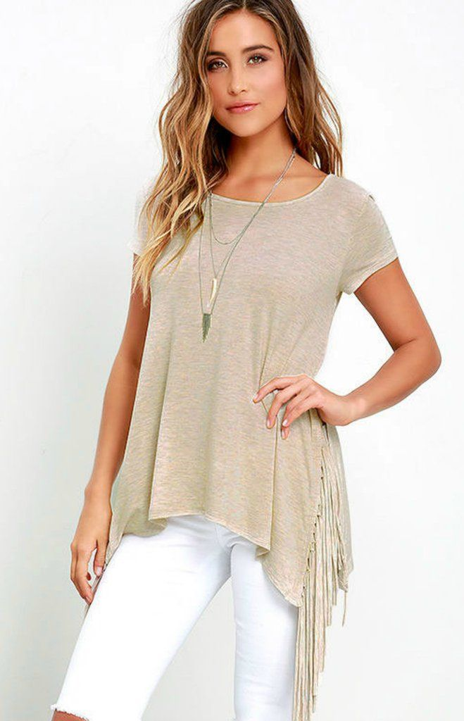 Beige Casual Round Collar Fringe Slit T-Shirts – Piper and Hollow