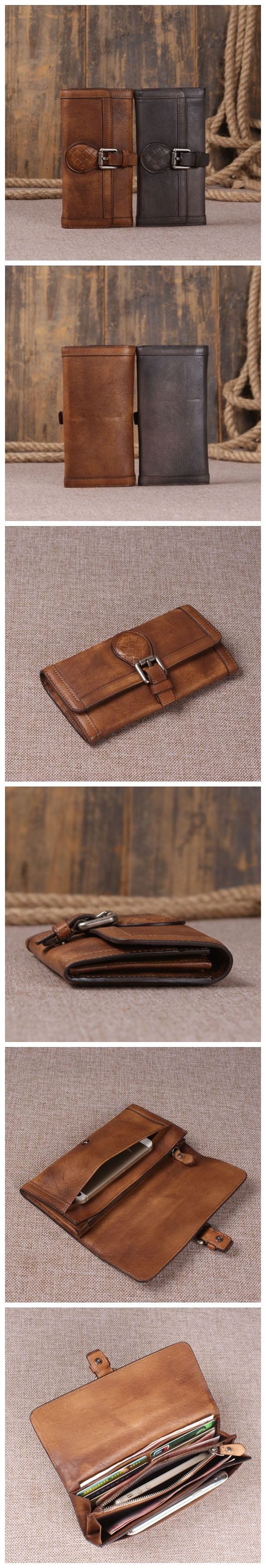 Portefeuille en cuir véritable au look rétro vintage, portefeuille long pour homme sac à main en cuir …   – Çantalar