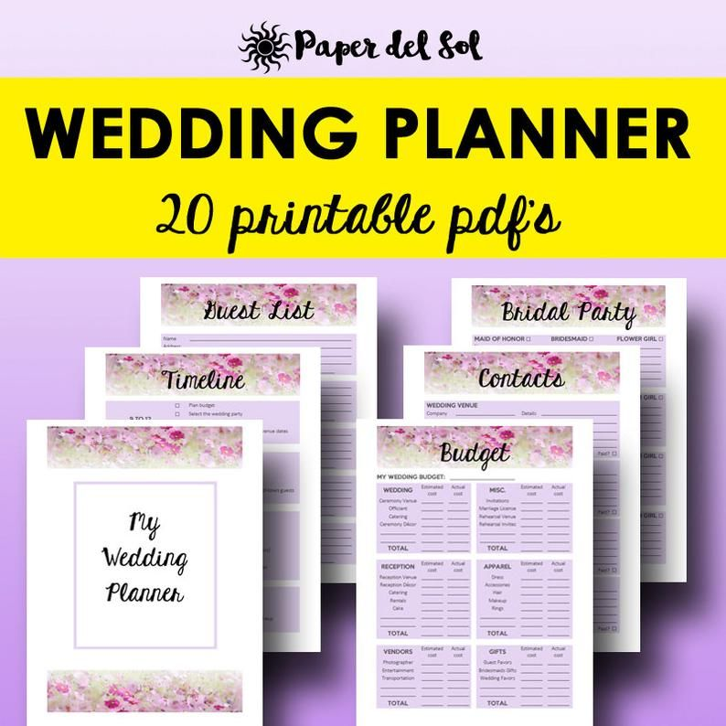 Wedding Planner Book PDF, Printable Wedding Planner