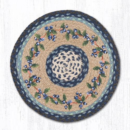 """PM-RP-312 Blueberry Vine Printed Round Placemat 15""""""""x15"""