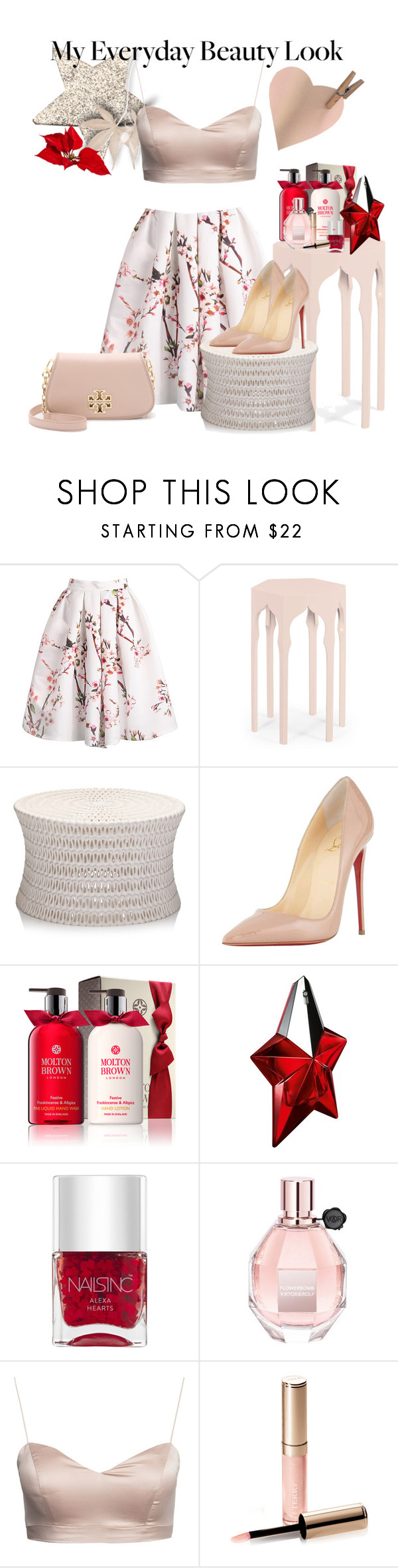 """Stars Red Look"" by anahcamilo on Polyvore featuring beauty, Jonathan Charles Fine Furniture, Christian Louboutin, Thierry Mugler, Nails Inc., Viktor & Rolf, By Terry and Tory Burch"