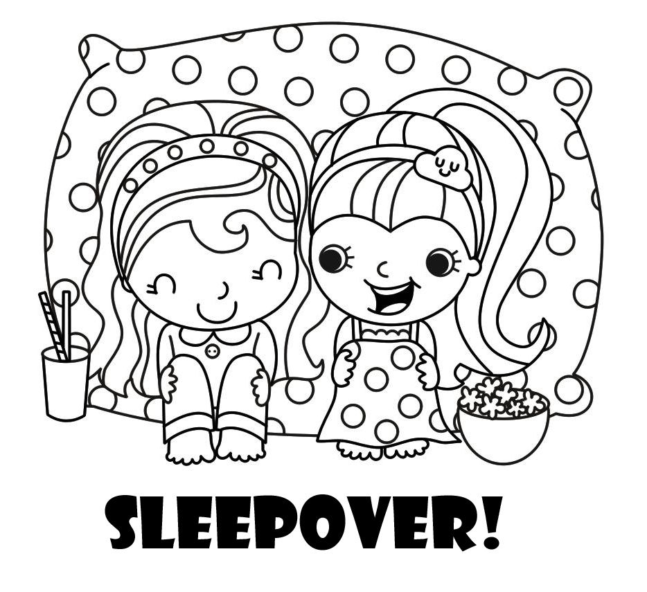 The perfect coloring page for a sleepover party coloring in