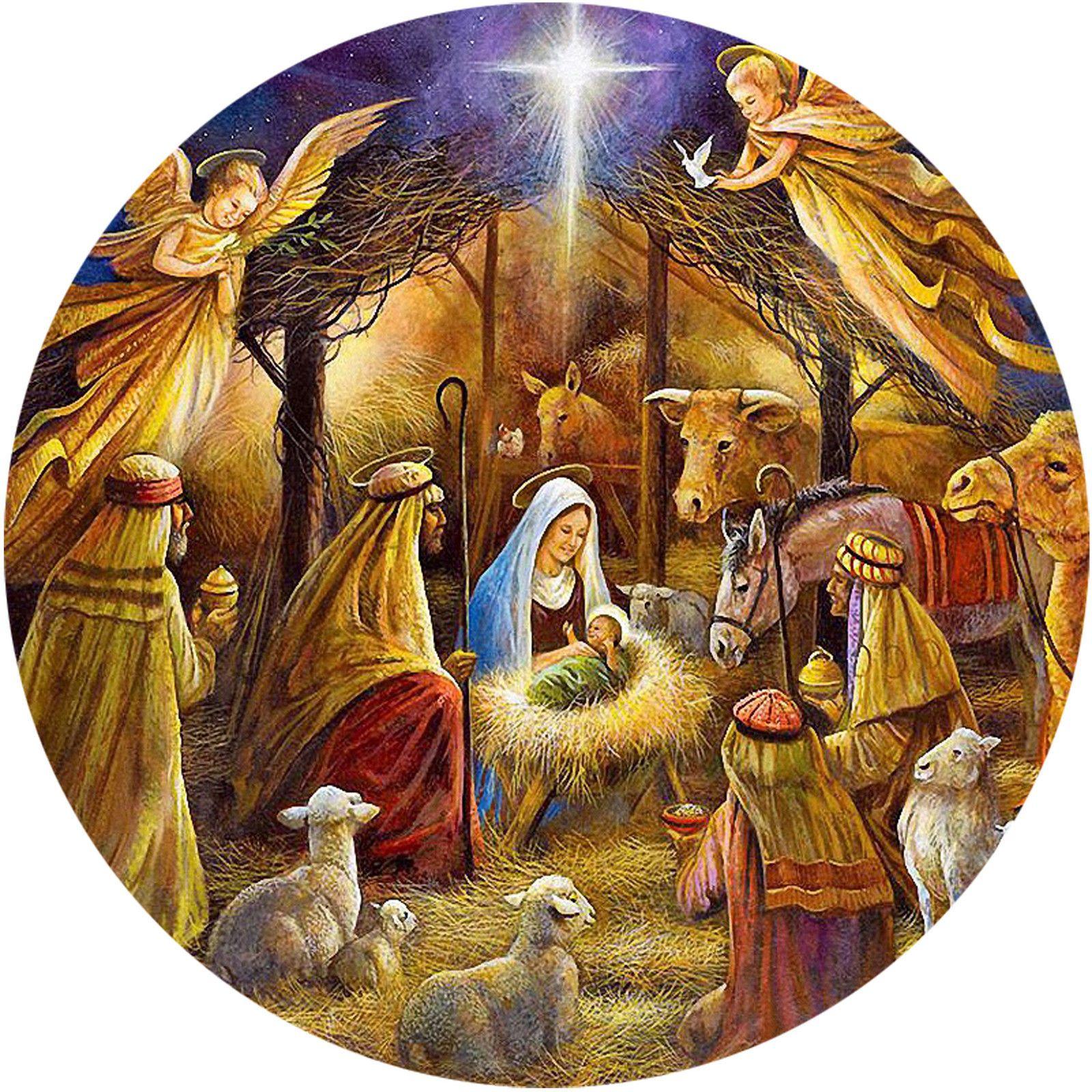 Christmas Traditional Nativity Manger Scene Baby Jesus Round Icing Cake Topper Christmas Nativity Scene Christmas Jesus Christmas Nativity