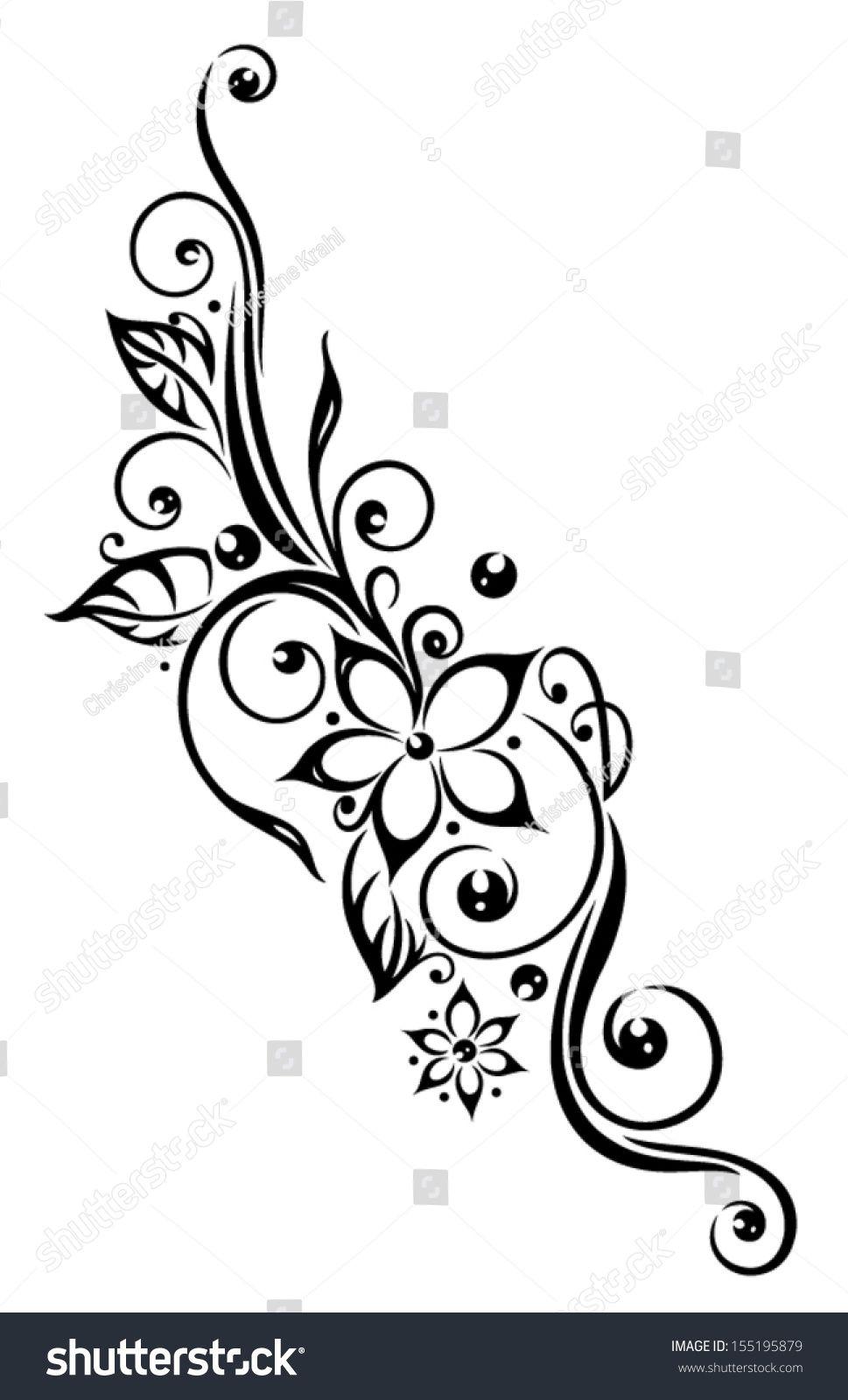 4308afecf Black flowers illustration, tribal tattoo style. | Inspiracion ...