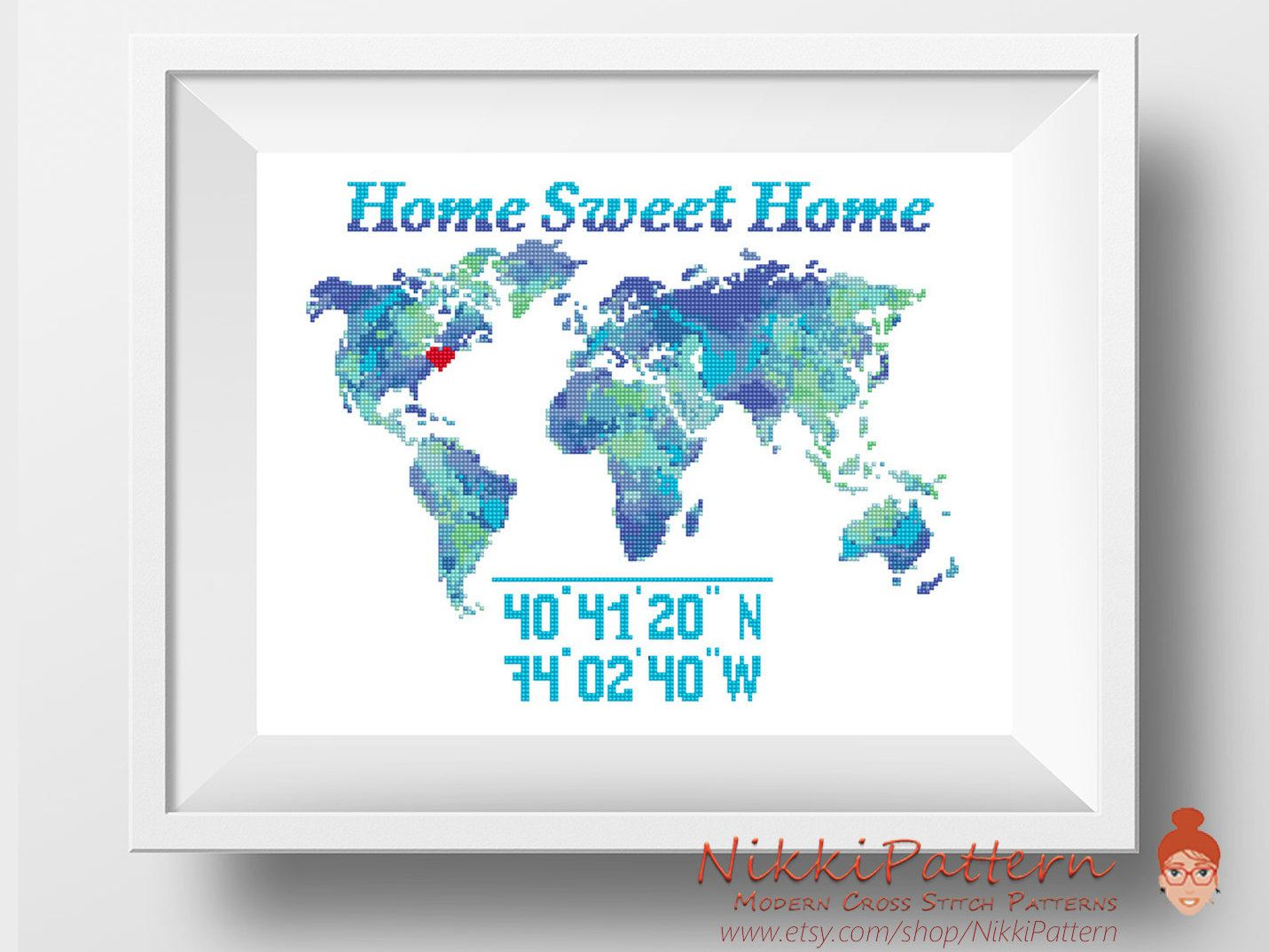 Watercolor world map cross stitch pattern modern cross stitch watercolor world map cross stitch pattern modern cross stitch colorful world map silhouette home sweet home wedding cross stitch new home gumiabroncs Image collections