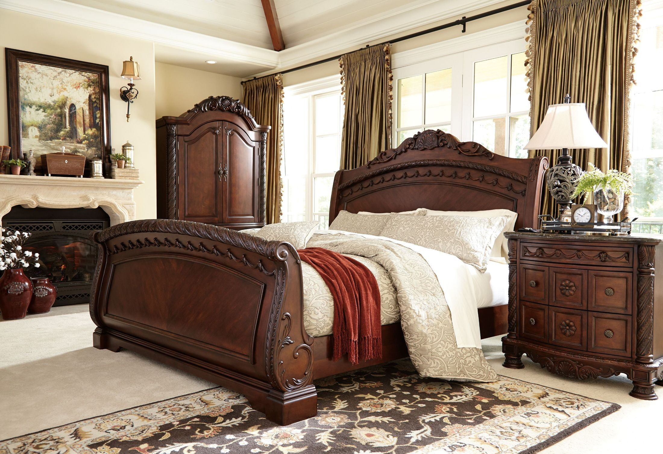 king sleigh bedroom sets. North Shore Sleigh Bedroom Set For a stylish bed and nightstand combination look no further than