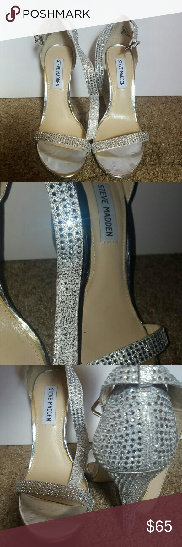 Women's Steve Madden Heels High-heels. Silver. Sparkling. Rhinestone. Slim ankle strap. Chic. Steve Madden Shoes Heels