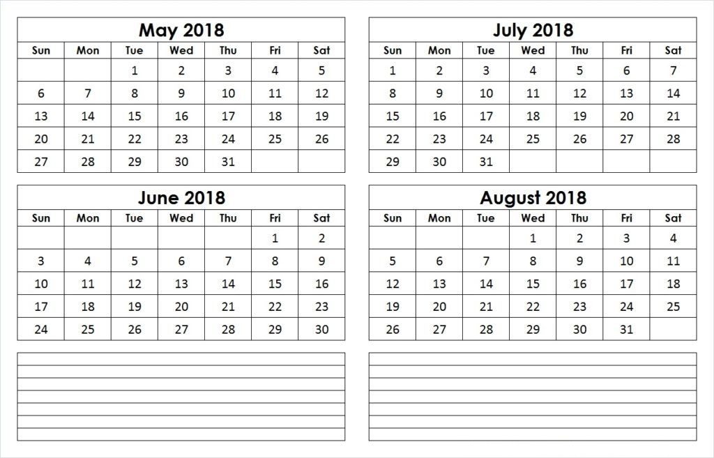 May To August 2018 Calendar 4 Month Calendar Template August 2018