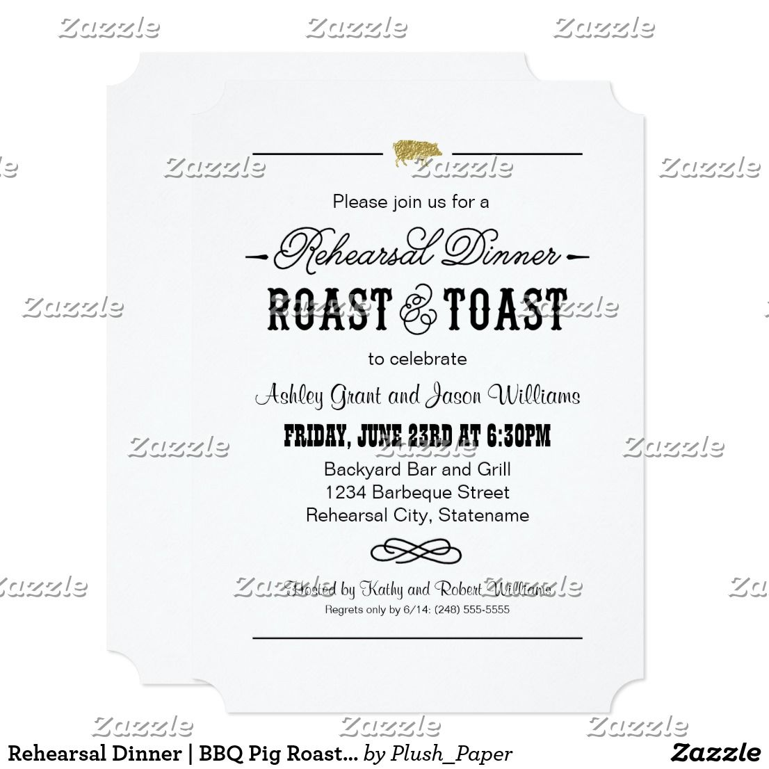 Rehearsal Dinner | BBQ Pig Roast and Toast Card | { Wedding ...
