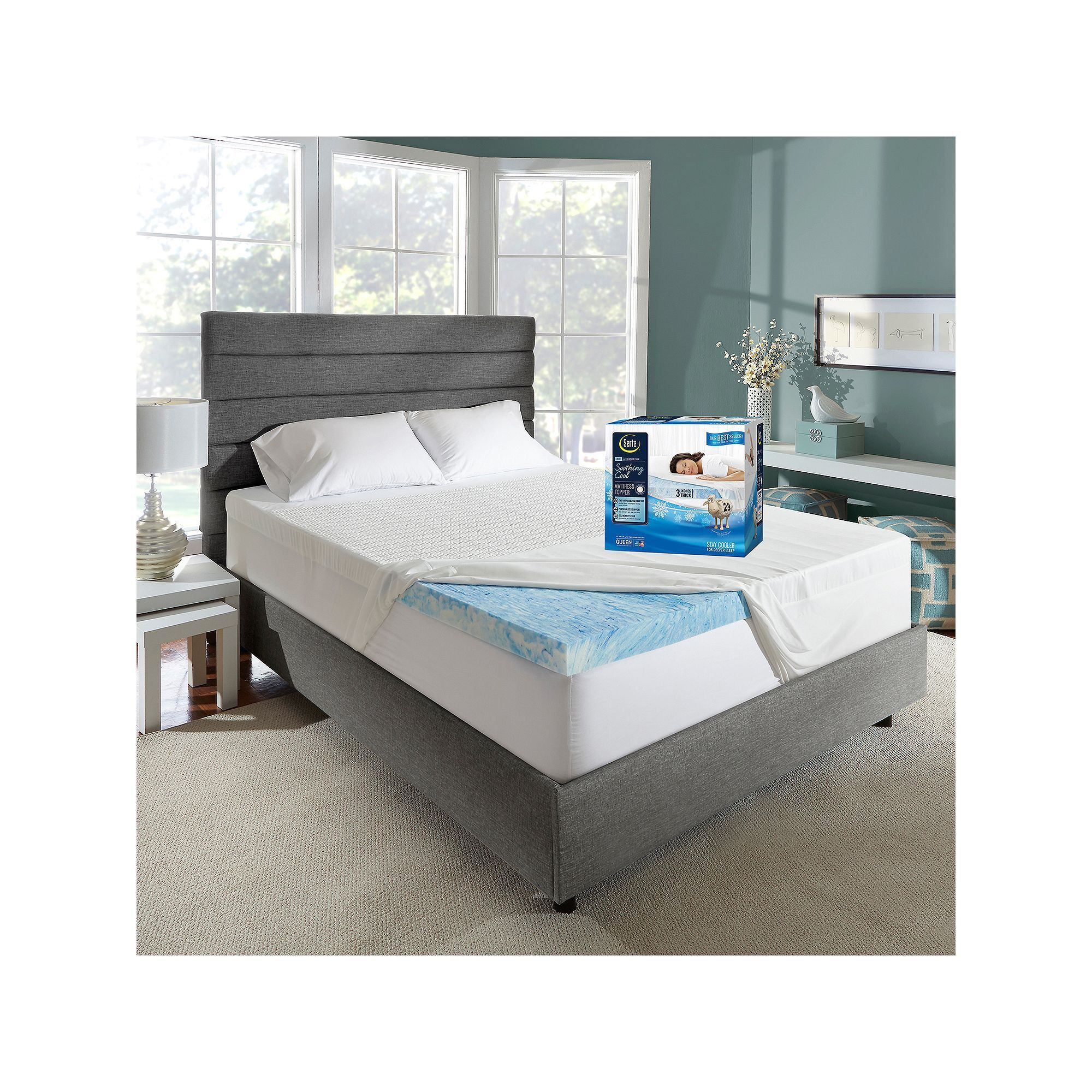 Serta Soothingcool 3 Inch Gel Memory Foam Mattress Topper With