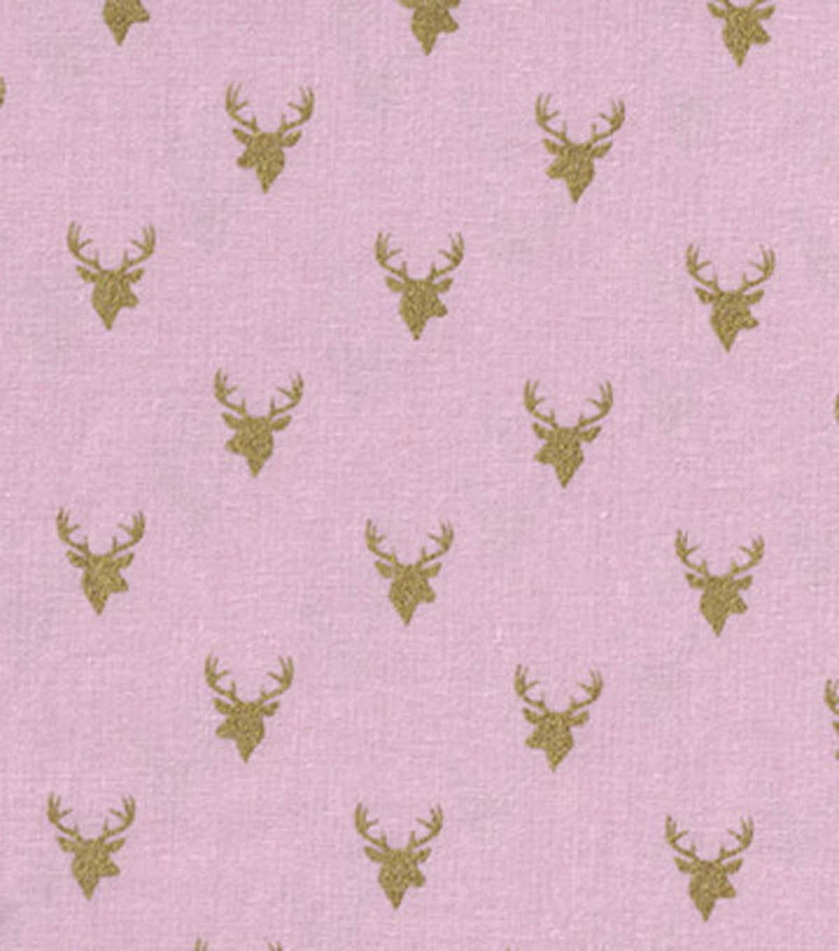 Keepsake Calico™ Cotton Fabric-Deer Heads On Pink With Gold Metallic