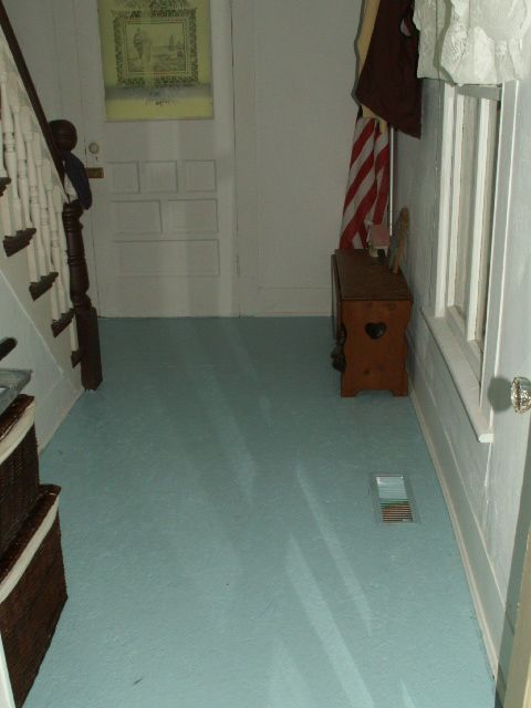 Painted Wood Floor Glossy Turquoise