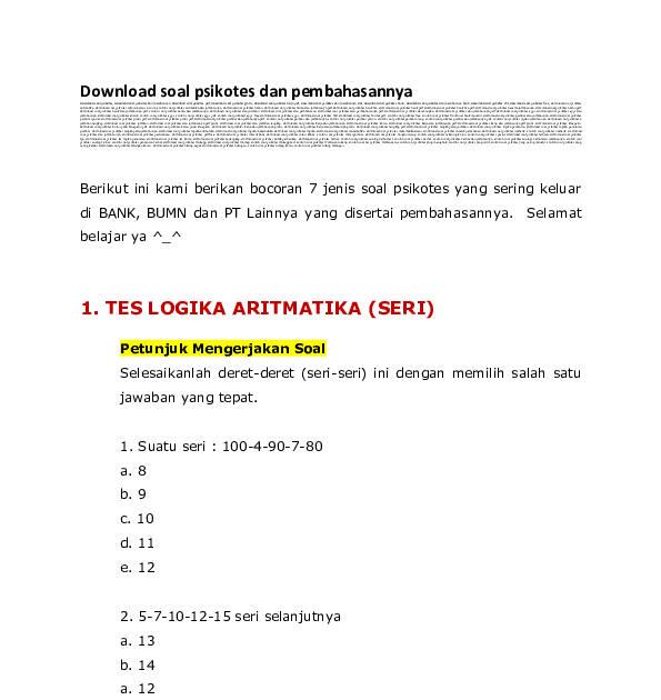 Berikut ini adalah beberapa contoh soal matematika dasar psikotes. Download Soal Tes Psikotes Dan Jawabannya Pdf Peranti Guru
