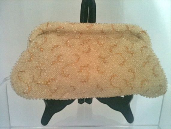 Vintage Mid Century Gold and Ivory Beaded Evening Bag