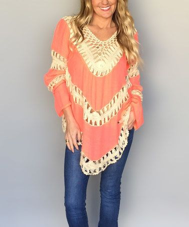 Loving this Neon Coral & Cream Crochet V-Neck Tunic on #zulily! #zulilyfinds