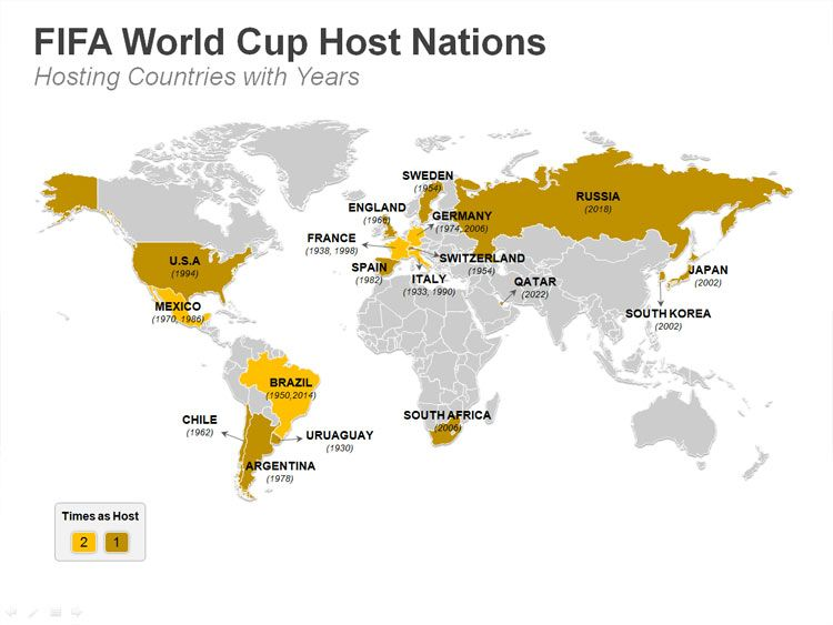 Fifa World Cup Host Nations Powerpoint Map Editable Ppt Fifa World Cup World Cup Powerpoint Presentation Slides