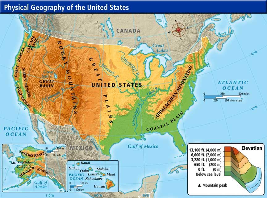 Map Statesphysical Map Of And Nationalcomprehensive Maps Of North - United states of america physical map