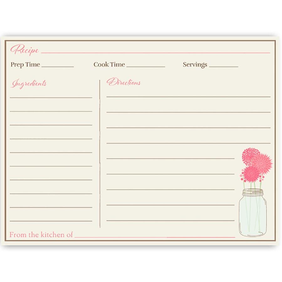 Mason Jar Pink Blooms, Recipe Card | Pinterest | Recetario, Mentiras ...