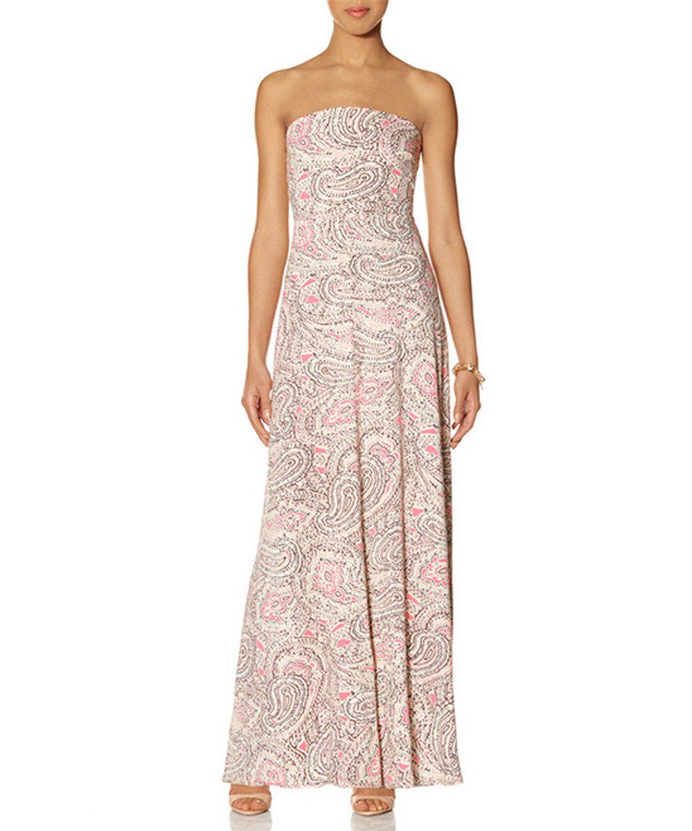 Look At This Pink Paisley Strapless Maxi Dress On Zulily Today Womens Maxi Dresses Strapless Maxi Dress Conservative Dresses [ 1201 x 1000 Pixel ]
