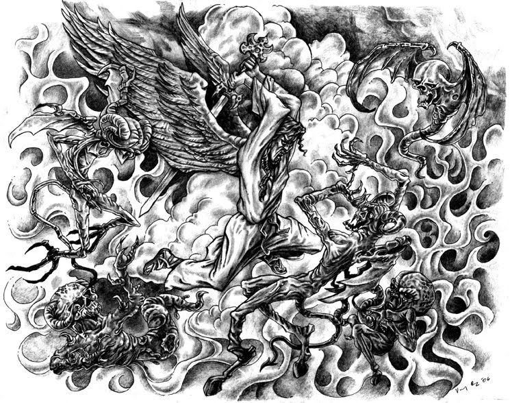 Angel Vs Demon Drawings Free Download K A B L G Design 8904 With Resolution 745x588 Pixel Fighting Tattoo Tattoo Design Drawings Demon Drawings